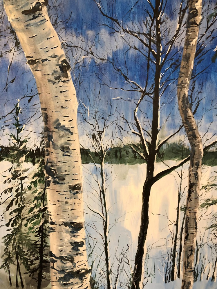 Winter acrylic of birch